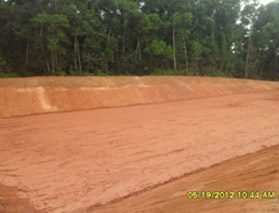Leachate treatment area after completion of earth work